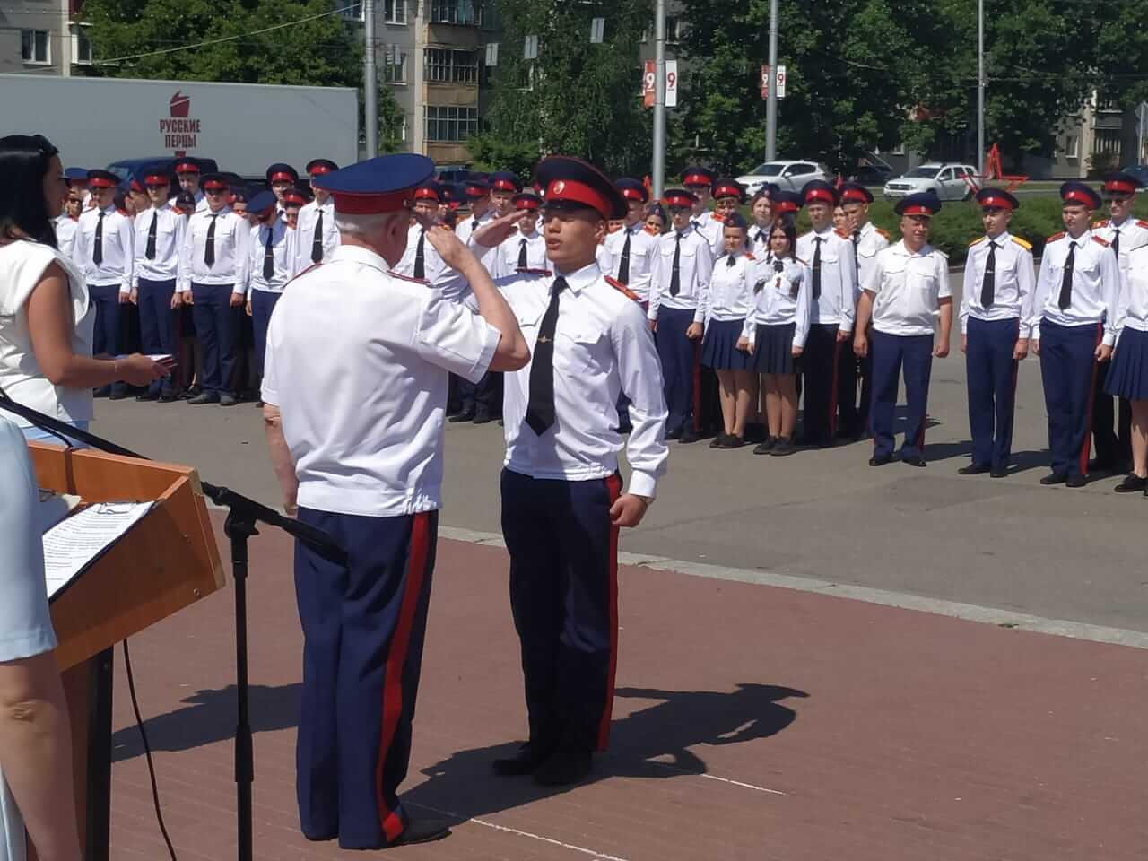 Прощание со знаменем в Пензенском казачьем генерала Слепцова кадетском корпусе